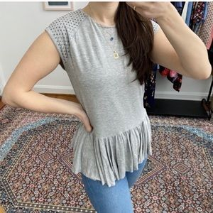 Rebecca Taylor Studded Cap Sleeve Grey Peplum Top